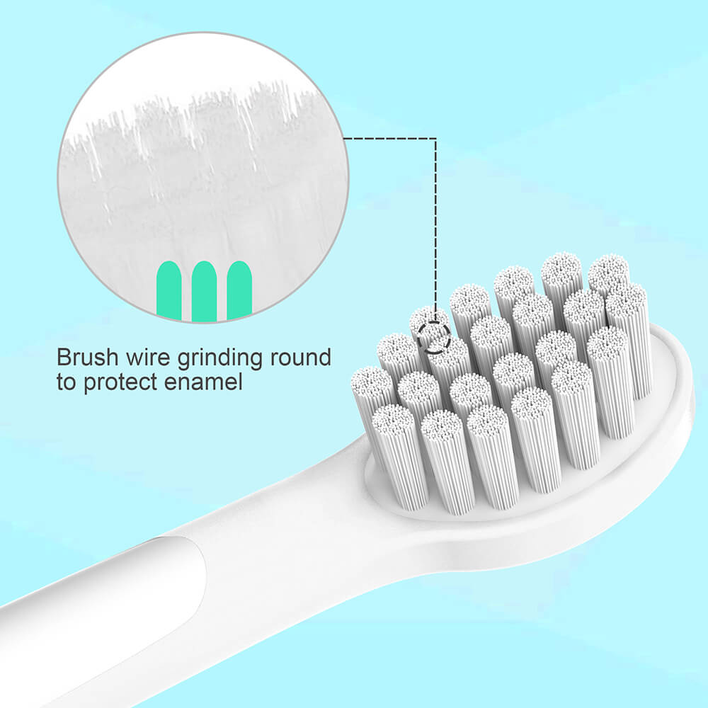 Brush wire grinding round to protect enamel